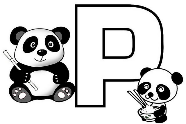 Fun And Cute Letter P For Panda Coloring Page