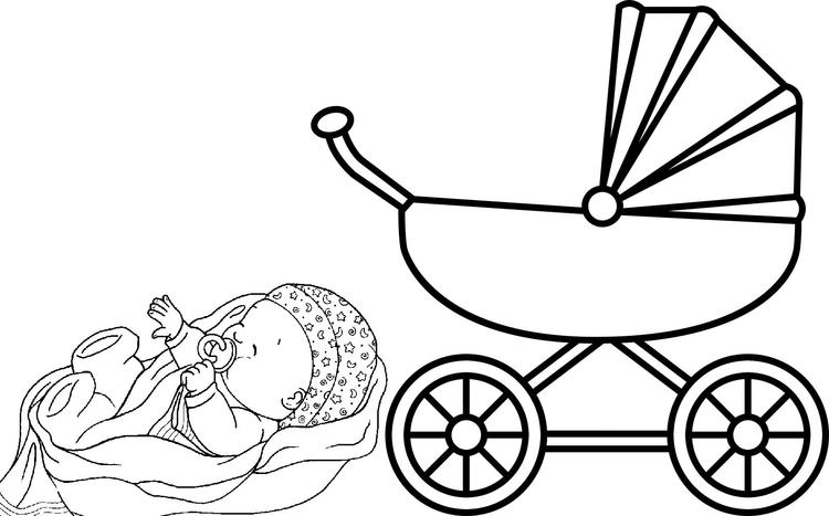 Fun Baby Carriage Coloring Page For Kids