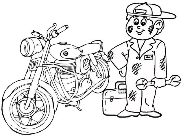 Fun Motorcylce Mechanic Coloring Page For Child