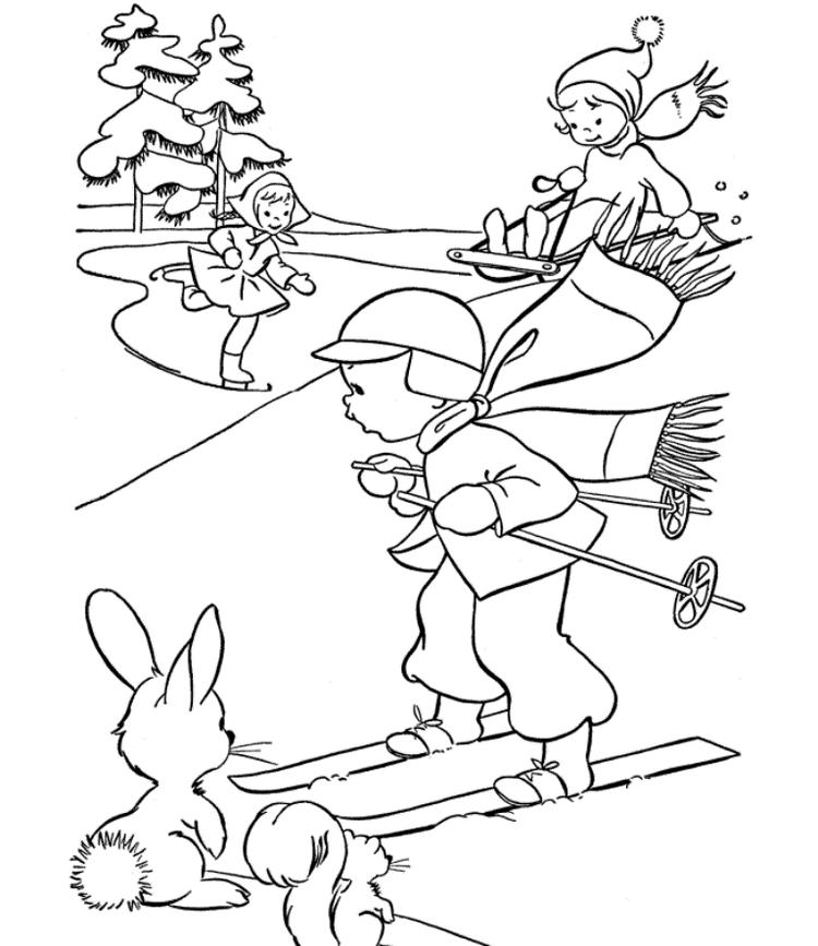 Fun Skating Winter Themed Coloring Pages