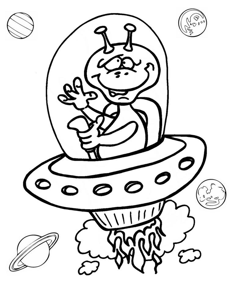 Fun Ufo Coloring Page For Children