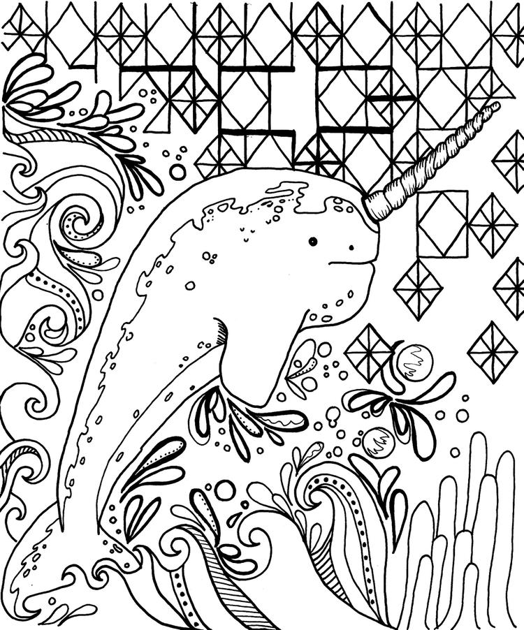 Fun Narwhale Coloring Page For Adults