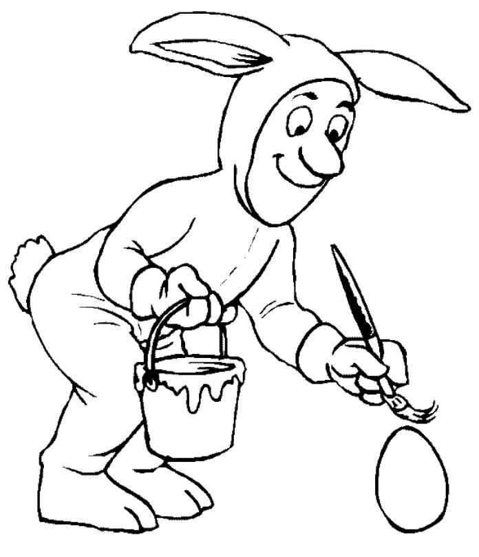 Funny Bunny Painting Easter Egg Coloring Page