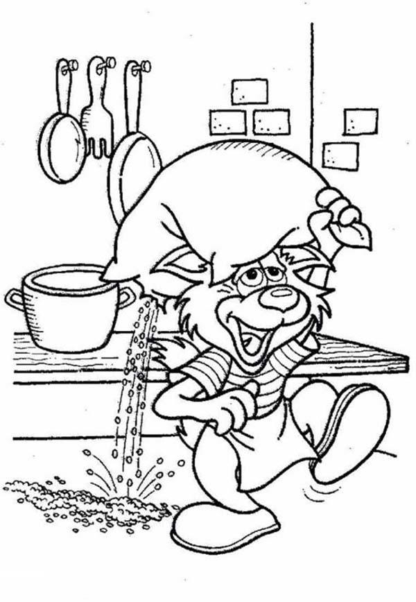 Funny Cat Carrying A Bag Of Powder In Bakery Coloring Pages