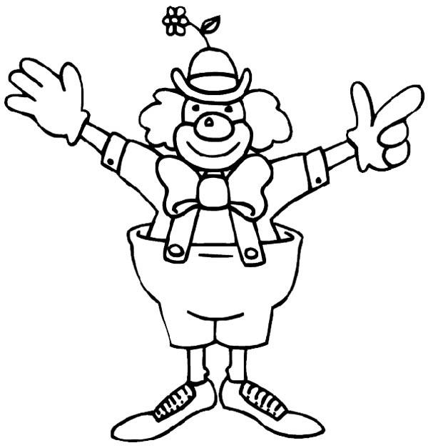 Funny Clown From Circus And Carnival Coloring Pages