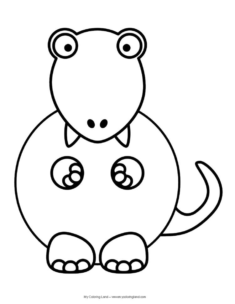 Funny Cute Baby Dinosaurs Coloring Pages
