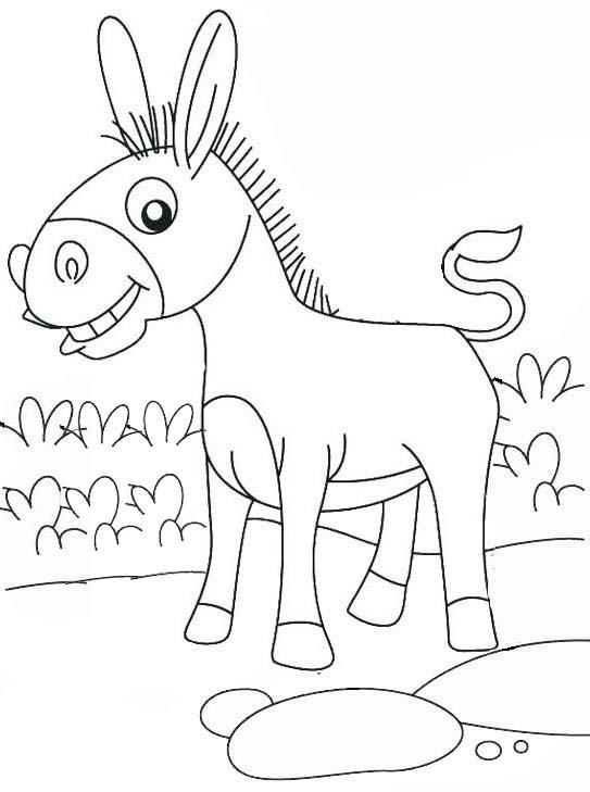 Funny Donkey Coloring Page For Kids