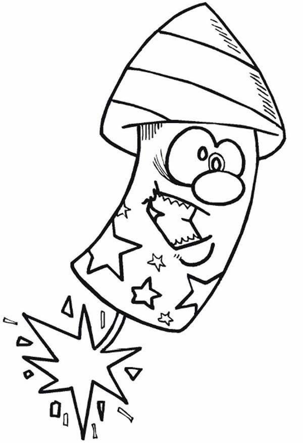 Funny Firecracker On 4th July Independence Day Coloring Page