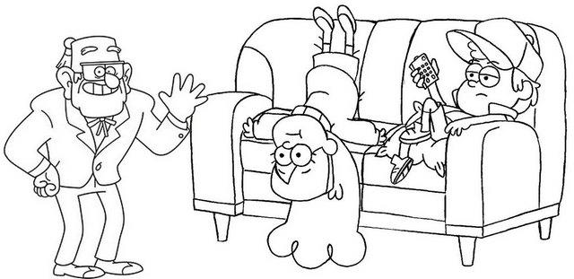 Funny Grunkle Stan Mabel Dipper On The Sofa Gravity Falls Coloring Page