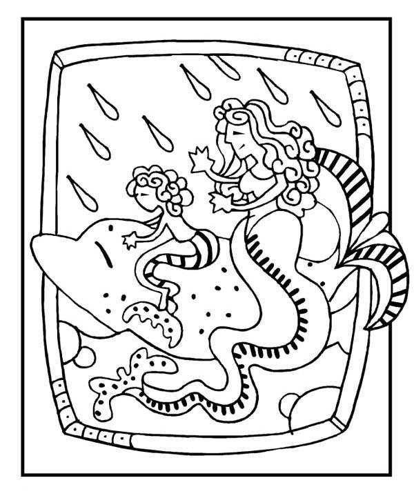 Funny Mermaid Dolphin Coloring Pages