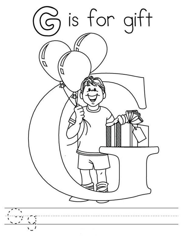 G Is For Gift Coloring Pages Alphabet Free