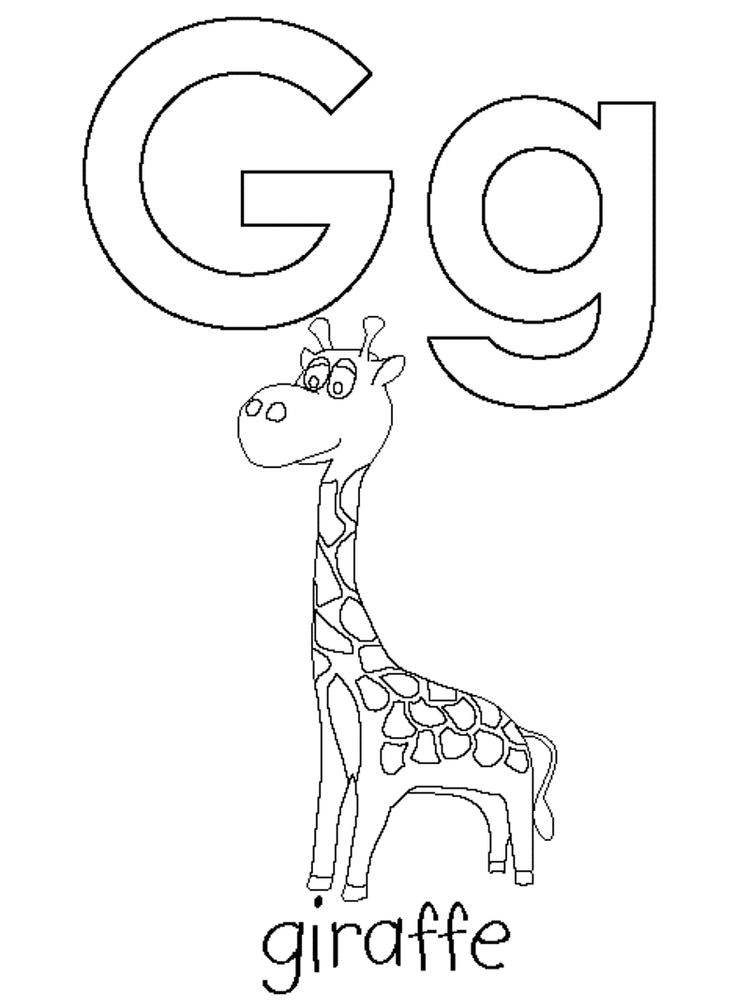 G Is For Giraffe Coloring Pages Alphabet