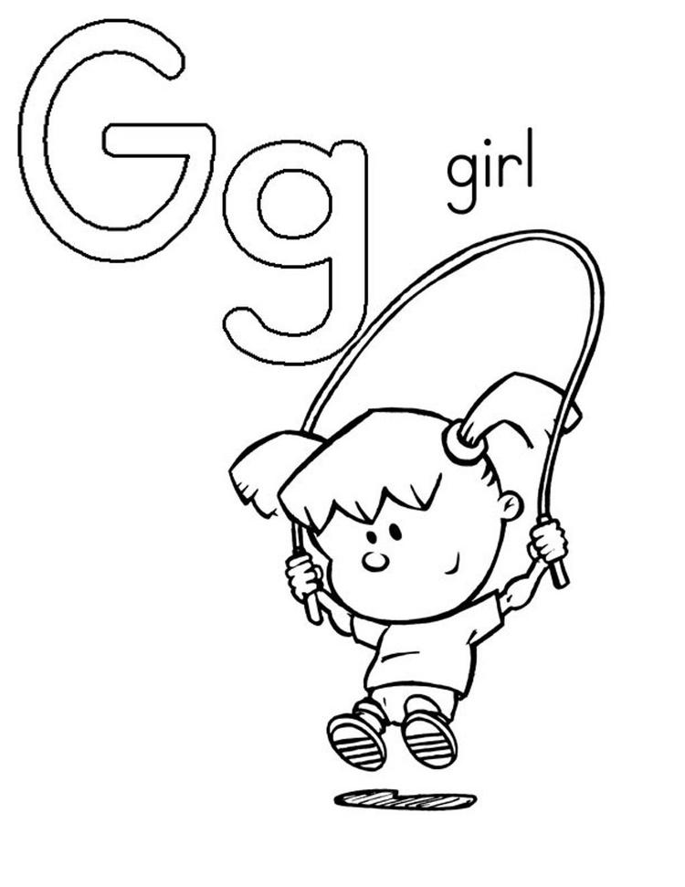 G is for girl coloring pages alphabet