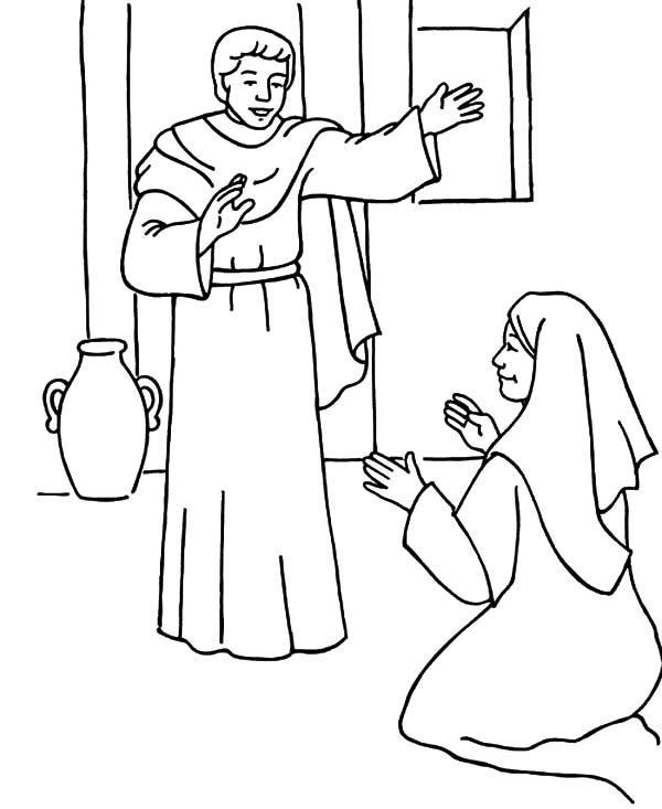 Gabriel The Angel Appears To Mary And Give Her The Blessing Coloring Pages