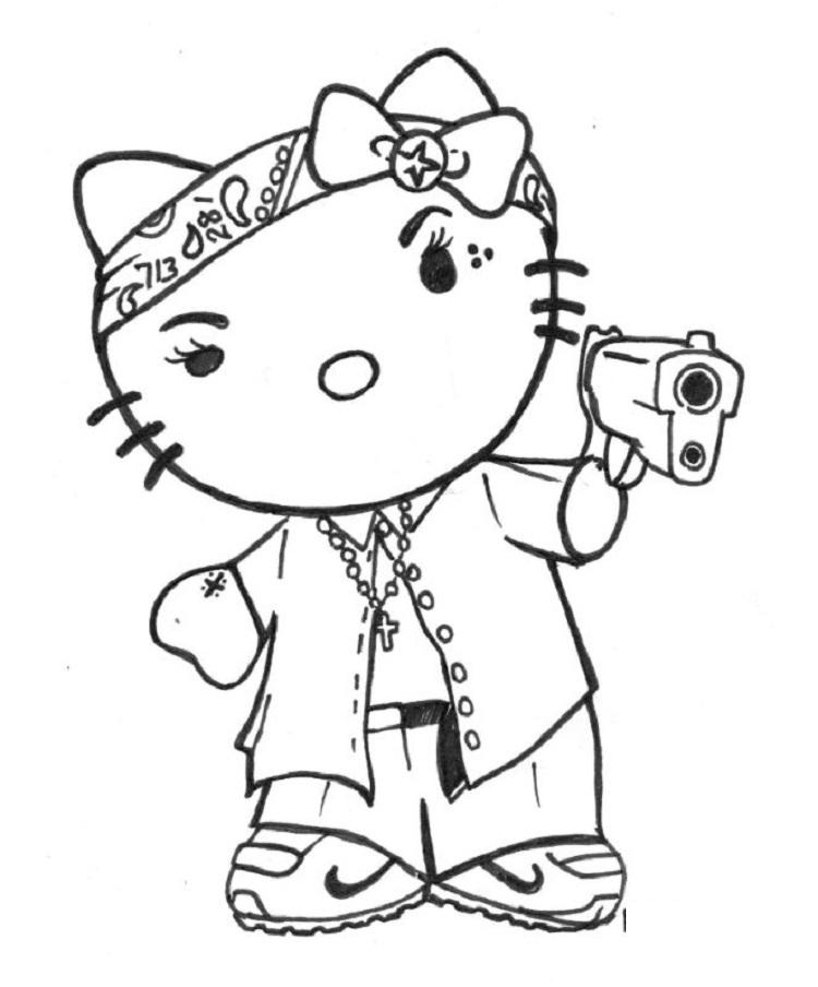 Gangster Hello Kitty Coloring Pages