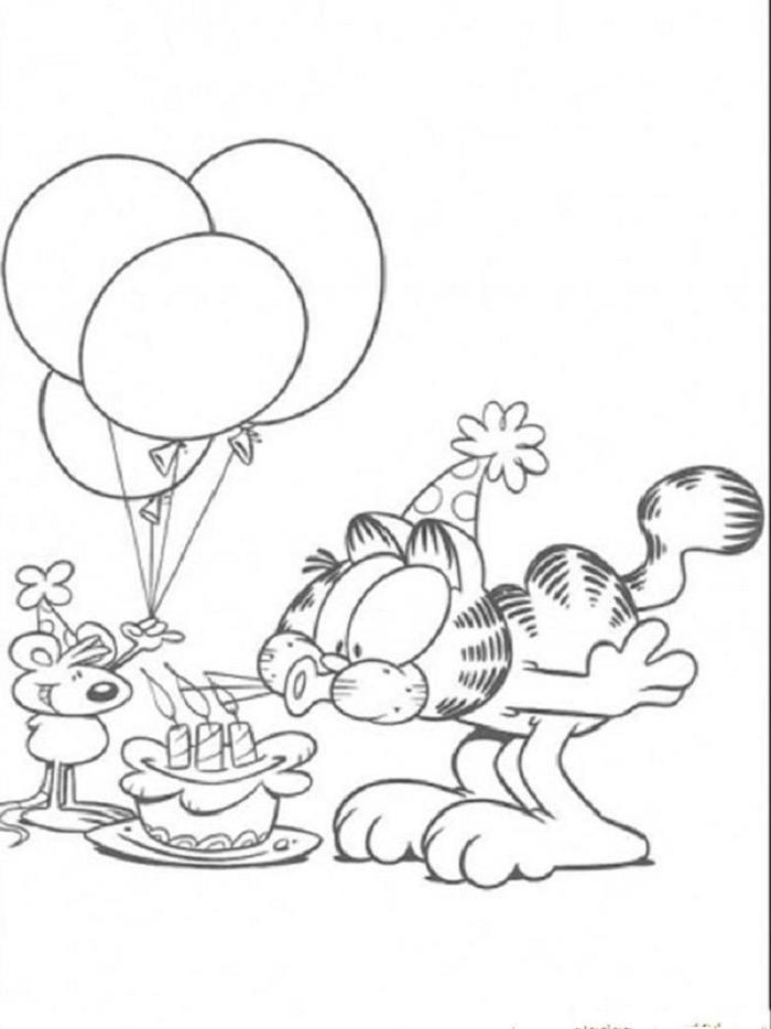 Garfield Birthday Coloring Pages