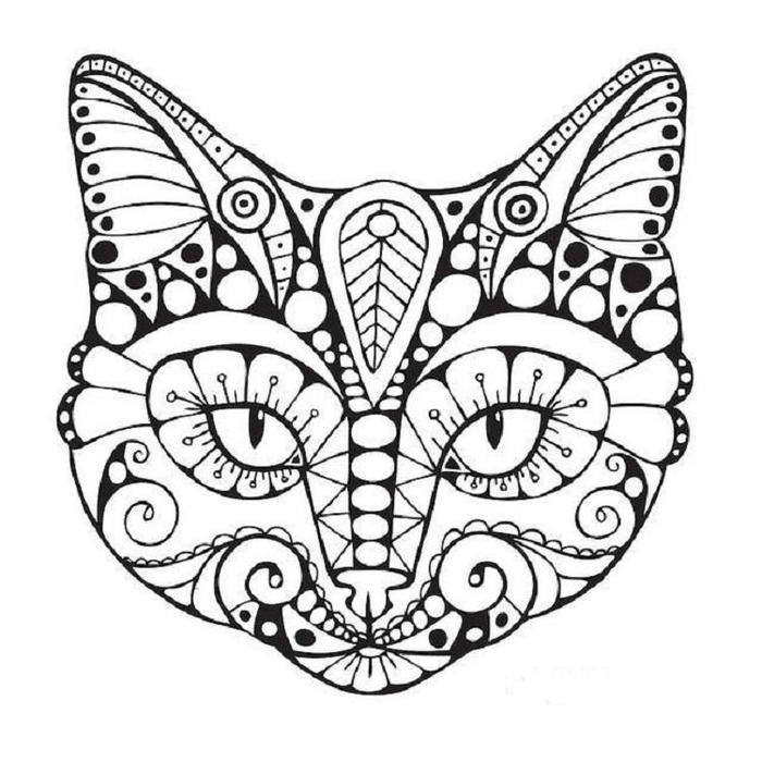 Geometric Cat Coloring Pages