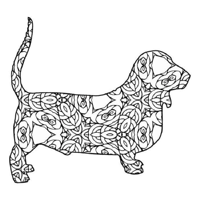 Geometric Dog Coloring Pages