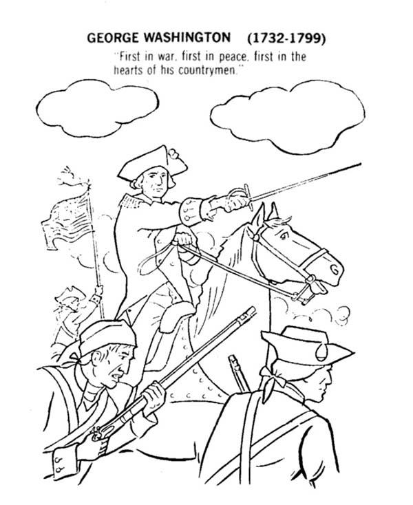 George Washington Lead American Revolution Flag Coloring Pages
