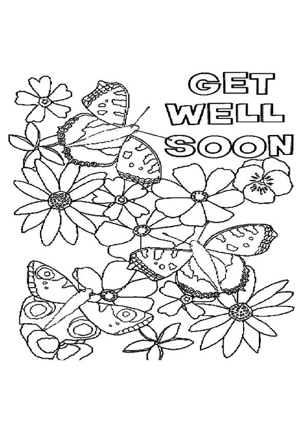 Get Well Soon Coloring Pages Flowers And Butterfly