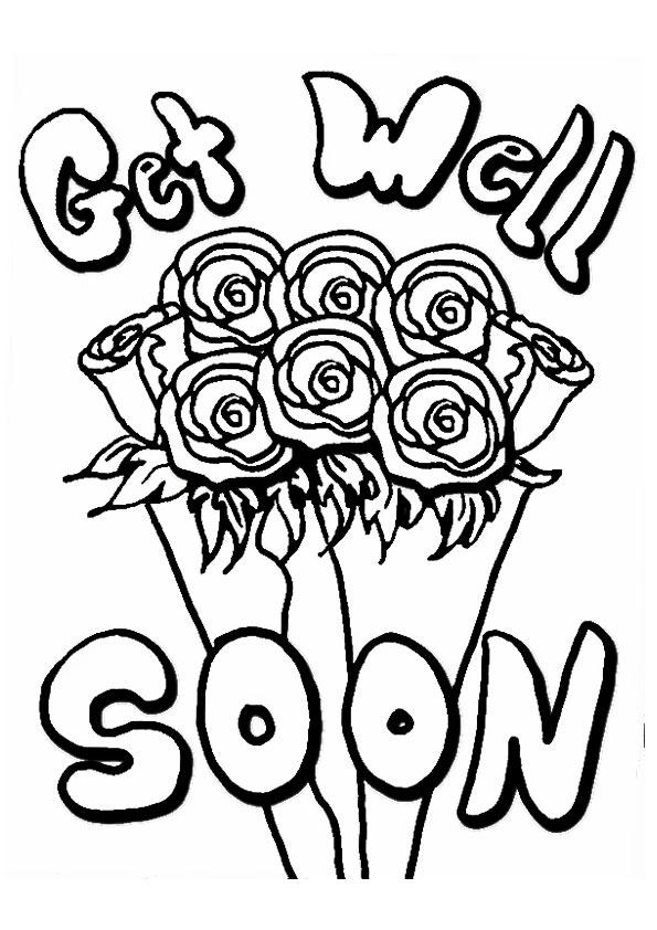 Get Well Soon Coloring Pages Roses Bouquet
