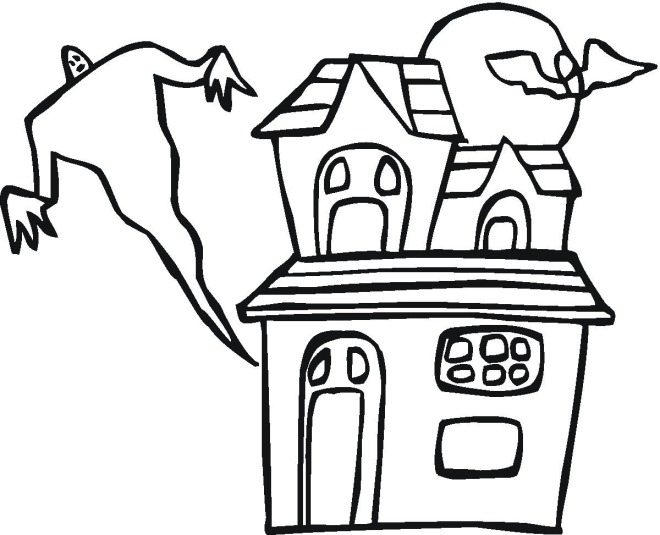 Ghost And Haunted House Halloween Coloring Pages Free
