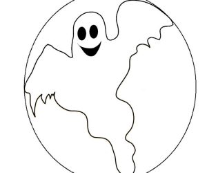 Ghost coloring pages with moon