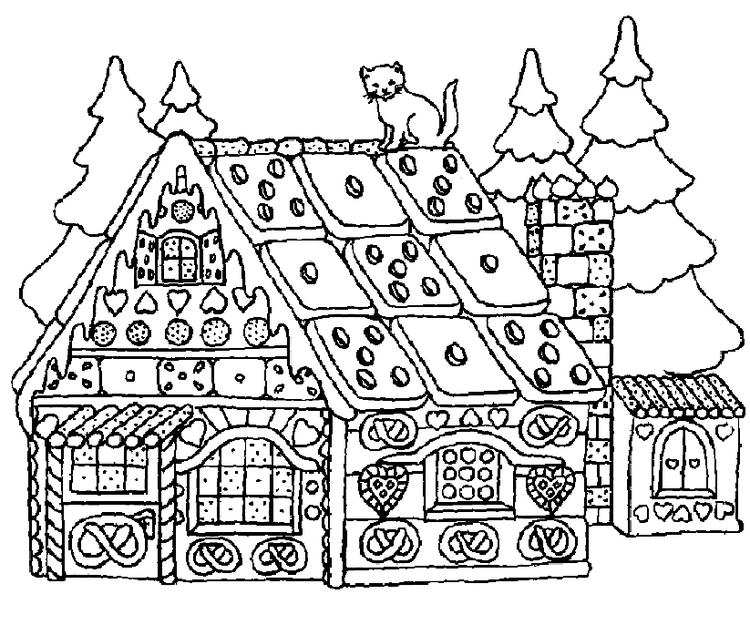 Gingerbread House Coloring Pages For Adults