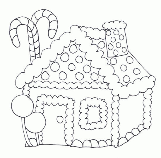 Gingerbread House Coloring Pages Free For Kids