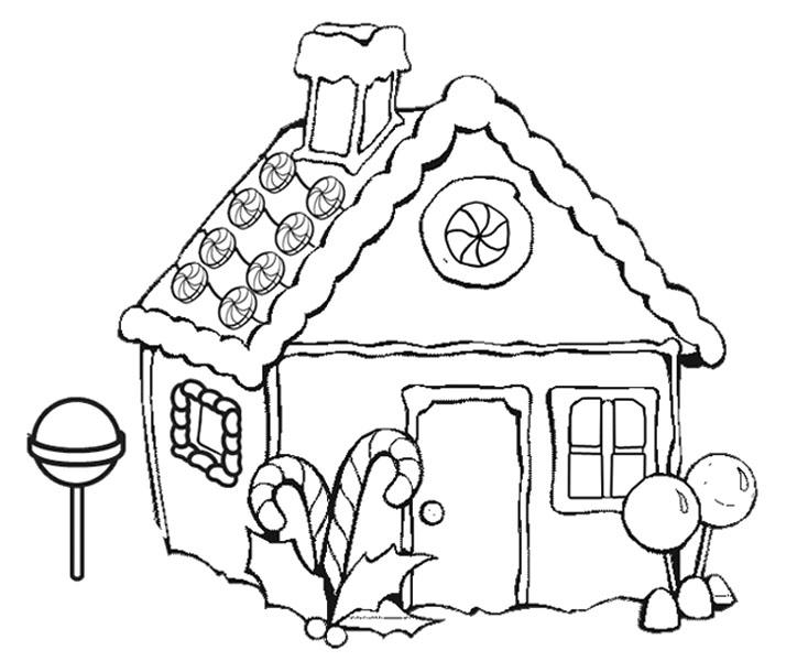 Gingerbread House Coloring Pages With Lollipop