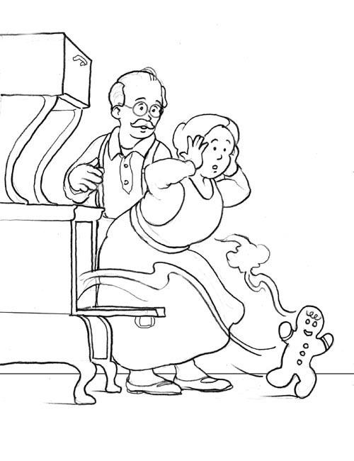 Gingerbread Man Coloring Pages Escape From Oven