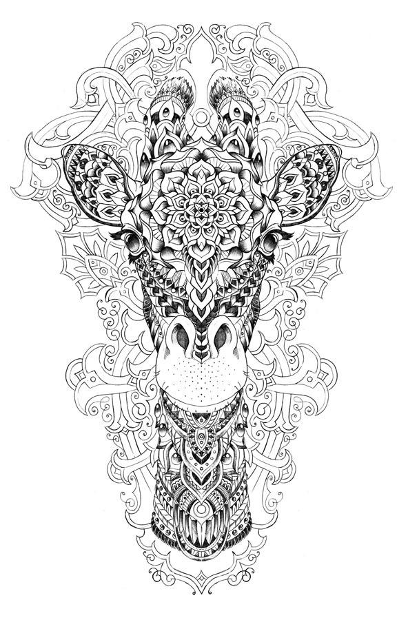Giraffe Coloring Pages For Adults Printable