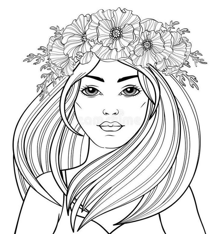 Girl Hair Coloring Pages