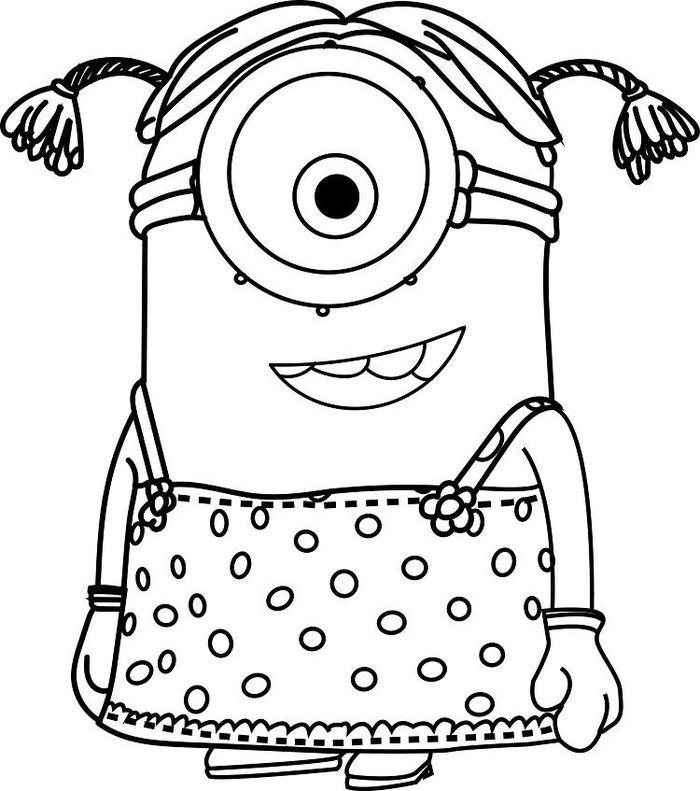 Girl Minion Coloring Pages