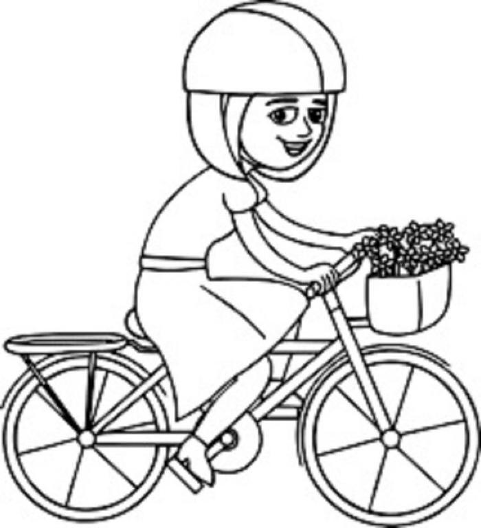 Girl On Bike Coloring Pages