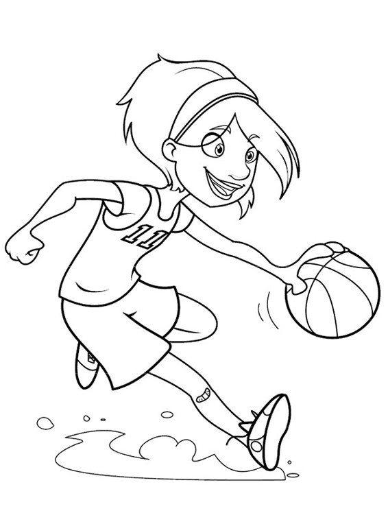 Girl Playing Basketball Coloring Pages