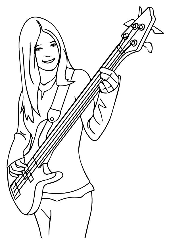 Girl Playing Bass Guitar Coloring Pages