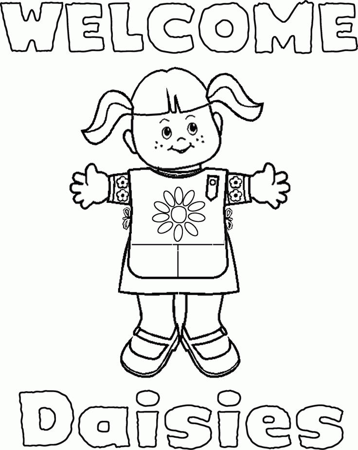 Girl Scout Coloring Pages Welcome Daisies