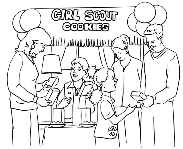 Girl Scouts Selling Cookies In Bazaar Coloring Book