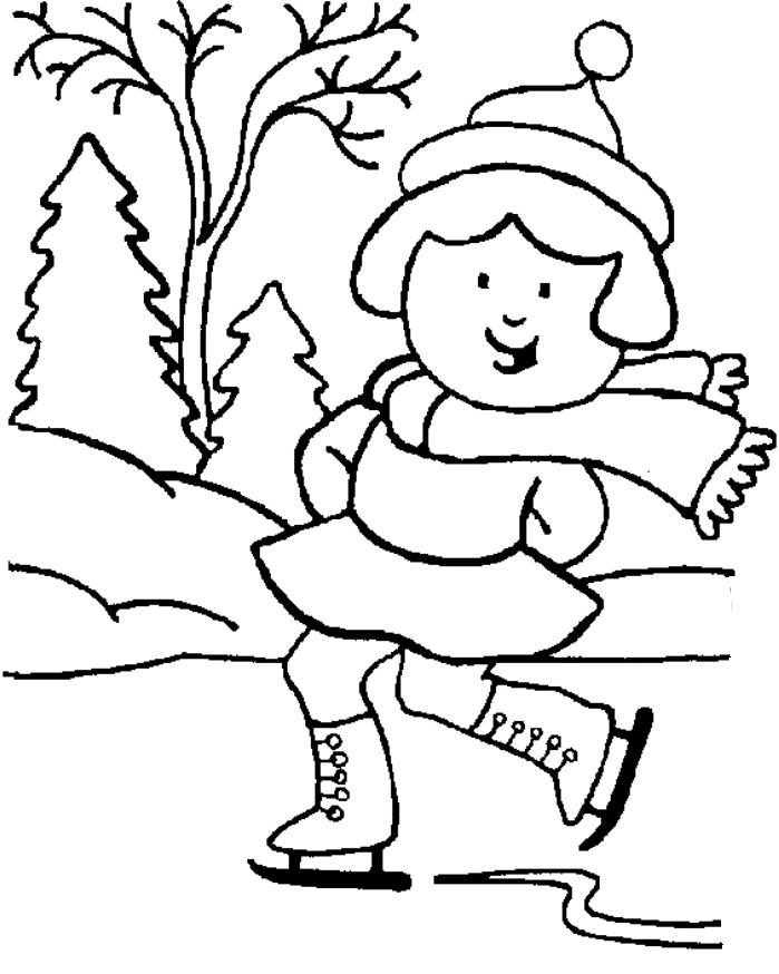 Girl Skating Winter Coloring Pages