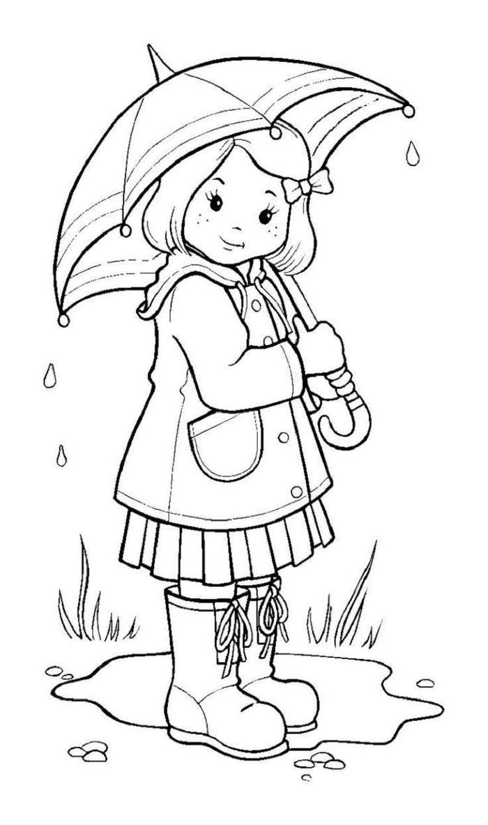 Girl With Her Umbrella Coloring Pages