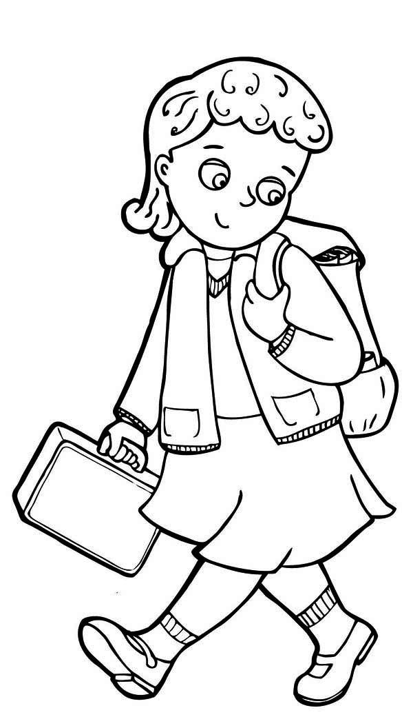 Girls Back To School Coloring Pages For Preschool
