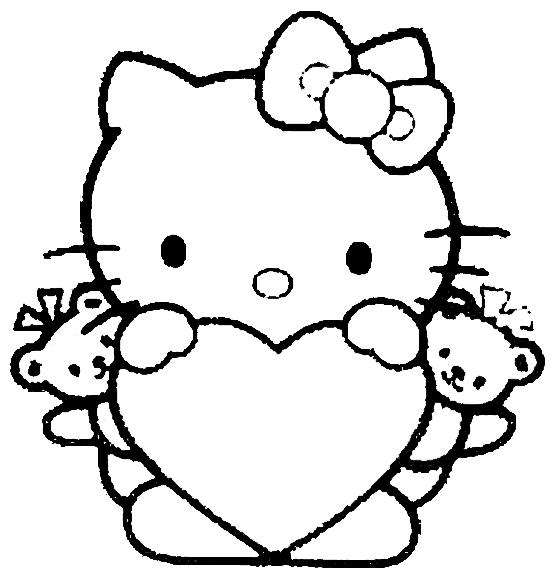 Girls Coloring Pages Hello Kitty Love