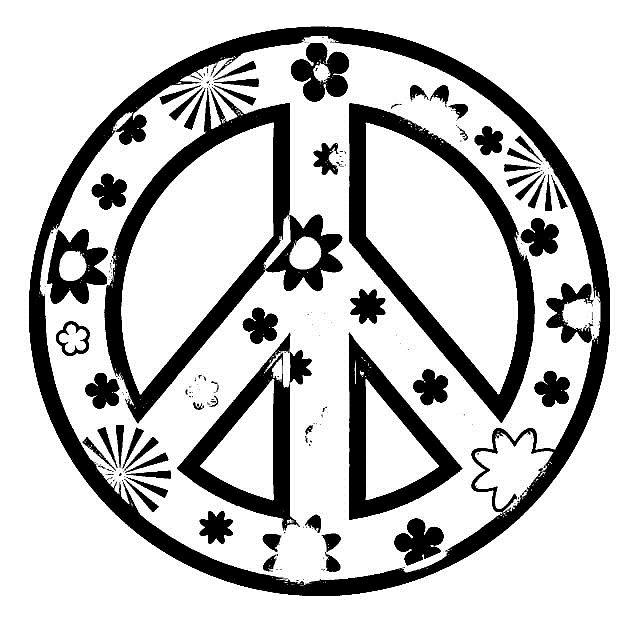 Girls Coloring Pages Peace Logo