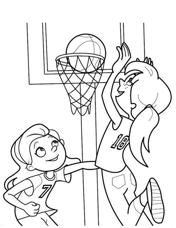 Girls Playing Basketball Coloring Pages