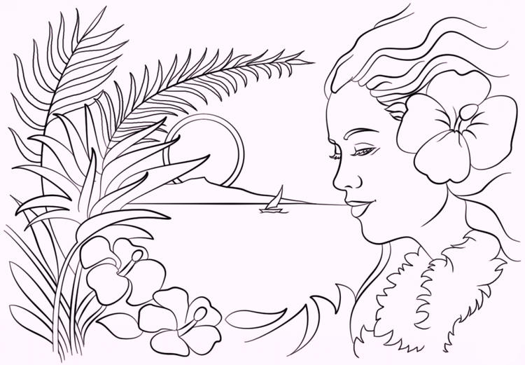 Girls Wear Hawaiian Flower Coloring Pages