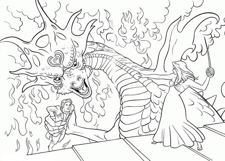 Giselle Fight Dragons In Enchanted Coloring Pages