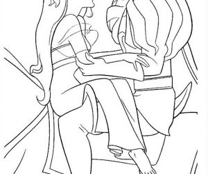 Giselle riding horse with prince edward in enchanted coloring pages