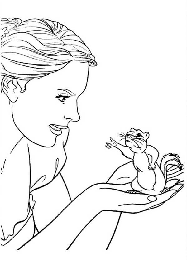 Giselle Talking To Pip In Enchanted Coloring Pages