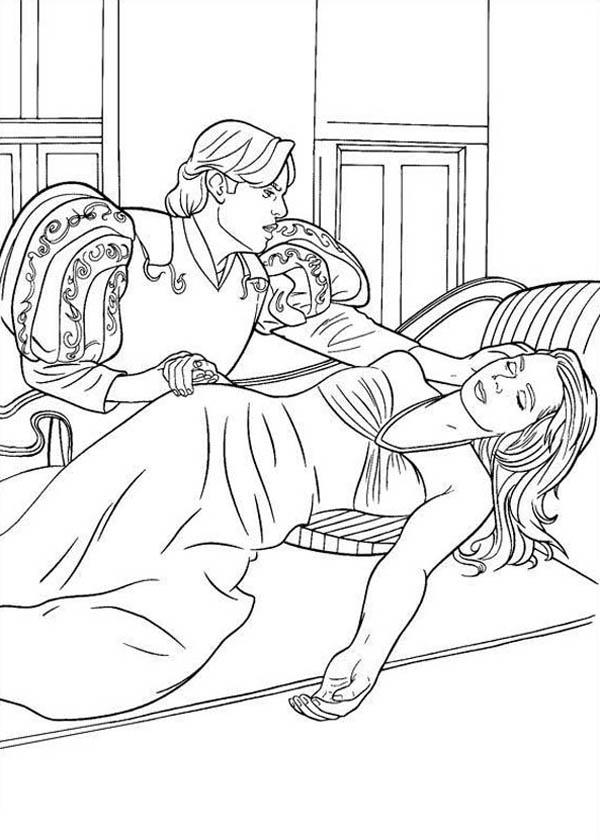 Giselle Unconscious Laying On Bed In Enchanted Coloring Pages